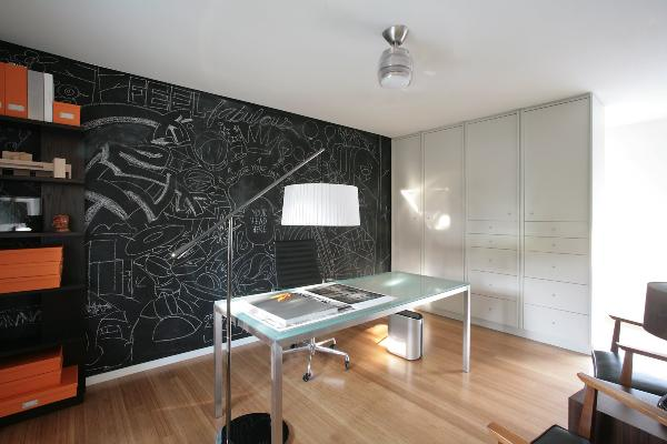 Chalkboard paint office wall decoist for How to paint a wall with chalk paint