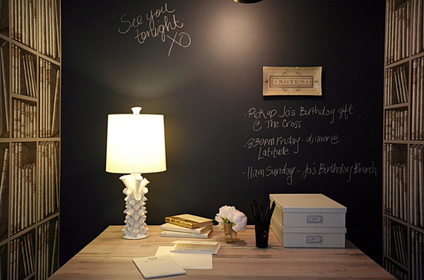 20 Chalkboard Paint Ideas To Transform Your Home Office: Chalkboard Wall Home Office.png