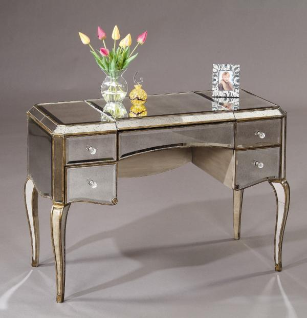 Adding shine with mirrored furniture for Vanity table with drawers no mirror