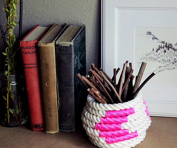 DIY Coiled Rope Basket 2 DIY Chic: How to Make a Coiled Rope Basket
