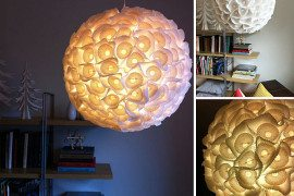 DIY Paper Orb Chandelier Made of Cupcake Liners