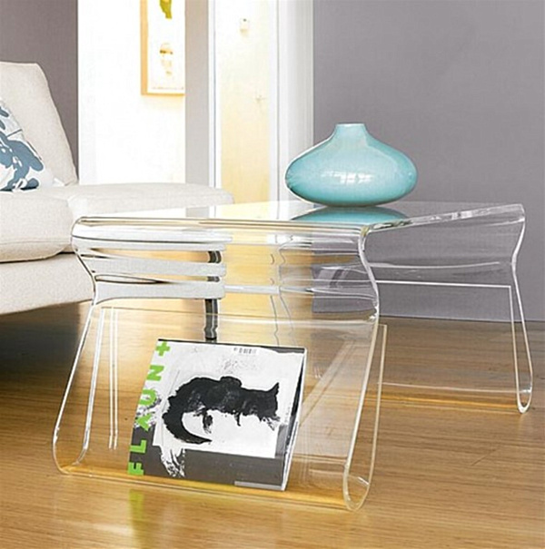 Dual-Purpose Acrylic Coffee Tables - 20 Chic Acrylic Coffee Tables