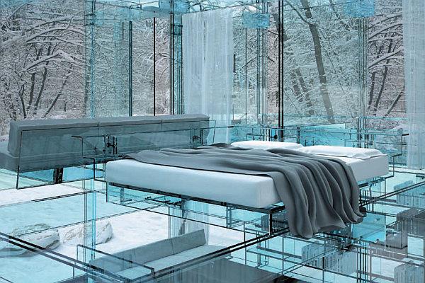 Glass House - glass bedroom