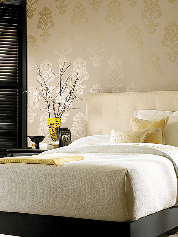 adding style with patterned wallpaper. Black Bedroom Furniture Sets. Home Design Ideas