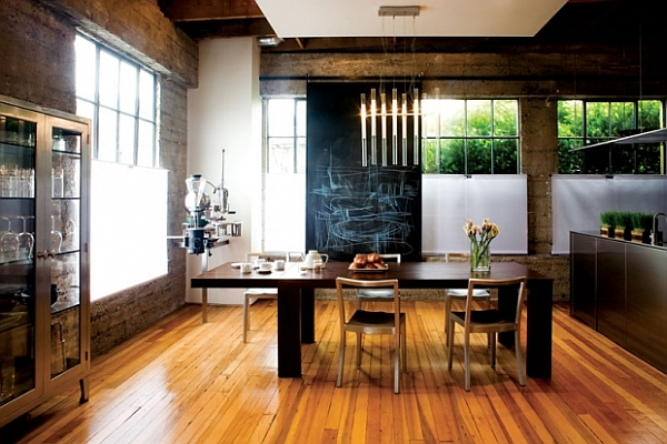 Highly functional dining room with minimalist furnishings