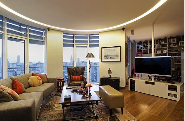 Istanbul luxury apartment casual living room with city views Luxury Home in Istanbul: Traditional Style Meets Contemporary