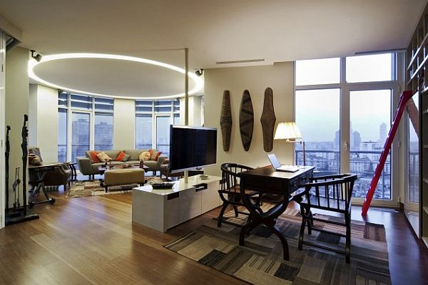 Istanbul luxury apartment large living room modern furniture Luxury Home in Istanbul: Traditional Style Meets Contemporary