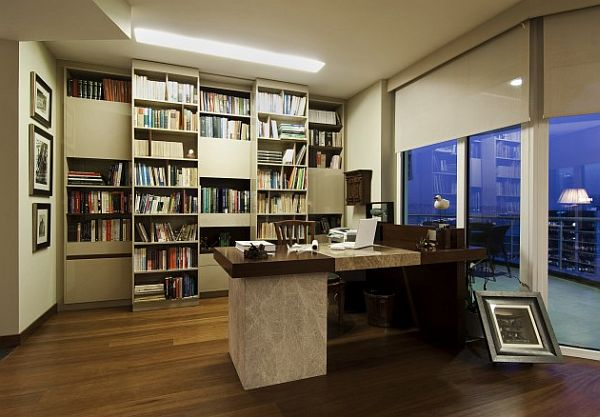 Istanbul luxury apartment - modern home office with fancy ...