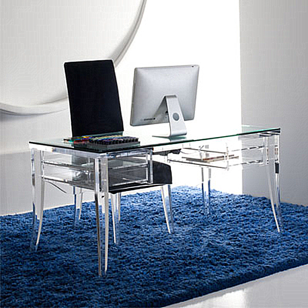 acrylic and glass desks