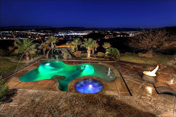 Outdoor Luxury Pool Designs : Luxury Home Washington  Tuscan Villa 17  outdoor pool city skyline