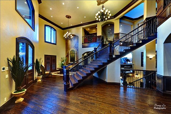 Luxury Home Washington Tuscan Villa 2 wooden staircase Luxury Tuscan Style Mansion in Washington is An Entertainer's Paradise