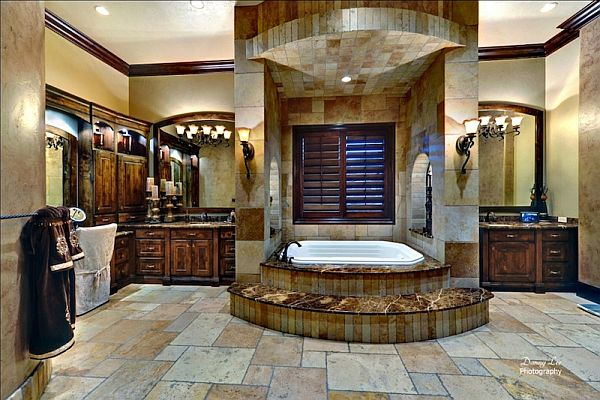 Luxury tuscan style mansion in washington is an for Beautiful bathroom decor