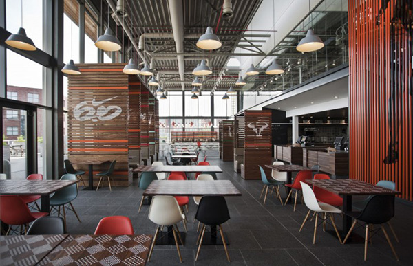 Sports inspired nike corporate canteen designed by uxus for Industrial design frankfurt