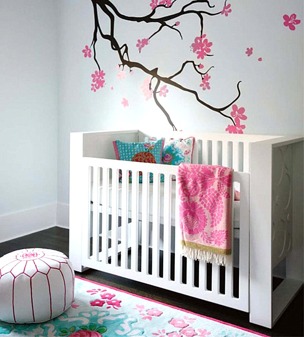 25 modern nursery design ideas for Baby girl nursery mural