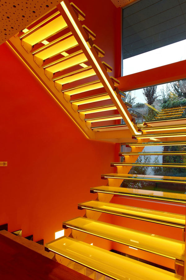 Orange House in Turkey - modern interior staircases