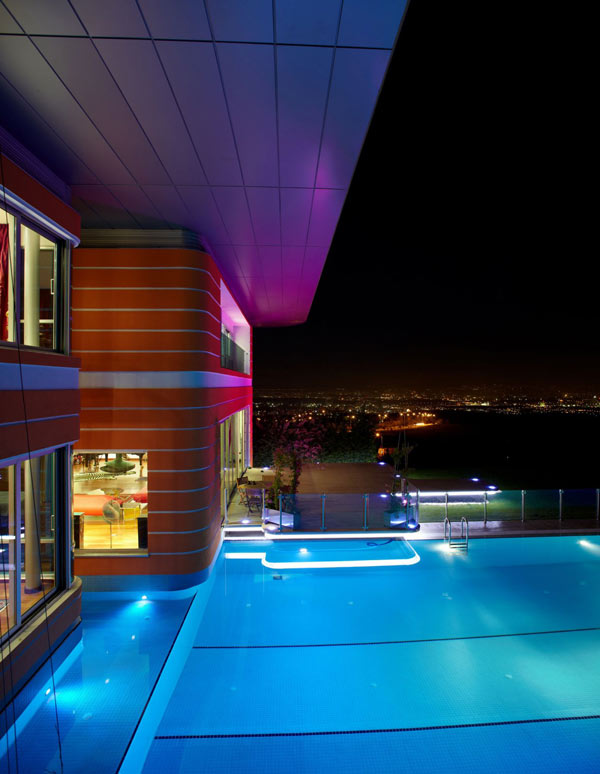 Orange House in Turkey - night view of the pool