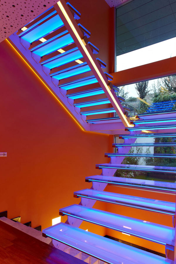 Orange House in Turkey - purple staircase