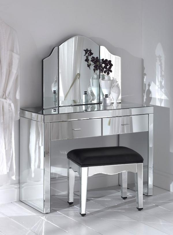 Mirrored Vanity Table And Stool: Adding Shine With Mirrored Furniture