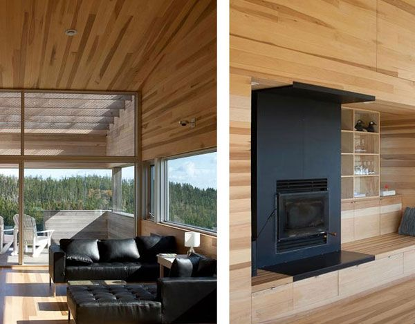 Sliding House in Canada interior with wood 4