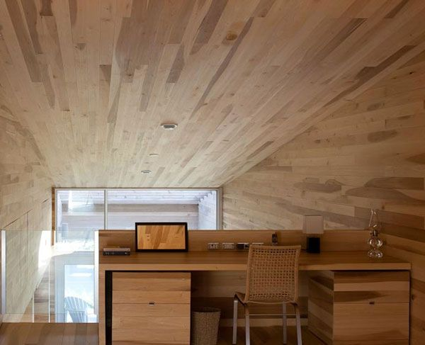 Sliding House in Canada wooden interior office desk 7