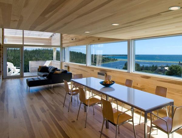 Sliding House in Canada wooden living area 2 Sliding House in Canada Charms With Wooden Interiors