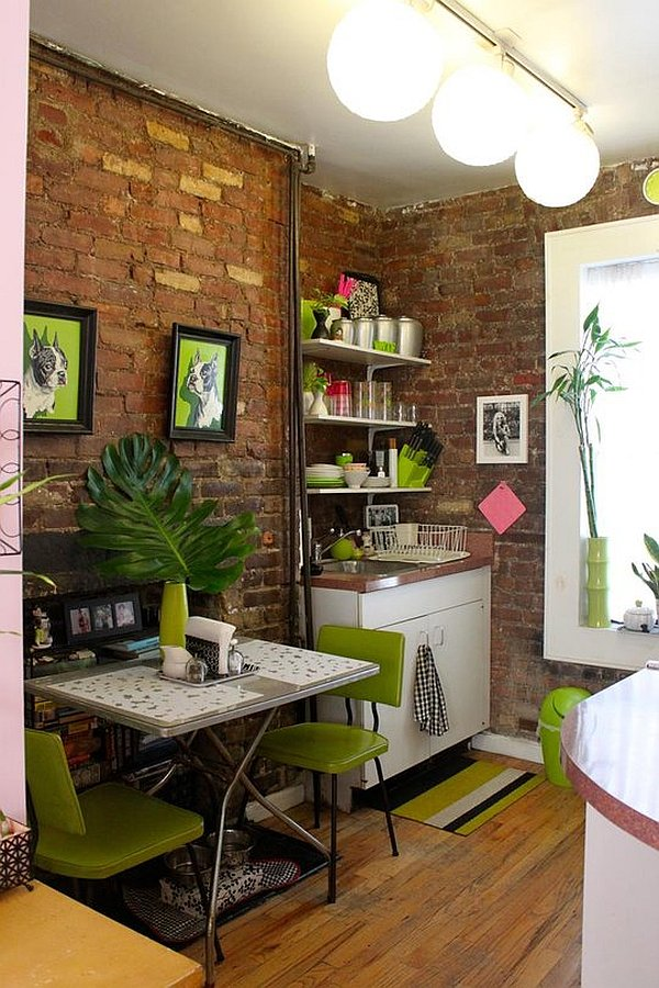 Small apartment design with exposed bricks walls kitchen for Designer apartment kitchens