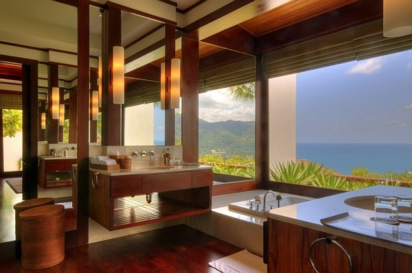 Thai Luxury Seaside Villa – lush bathroom