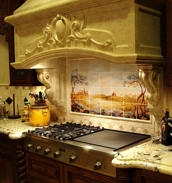 Tuscany kitchen backsplash with stone hood