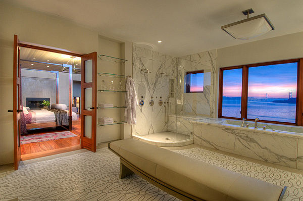 Villa Belvedere – San Francisco – Decoist 21 – master bedroom with ensuite bathroom decorating