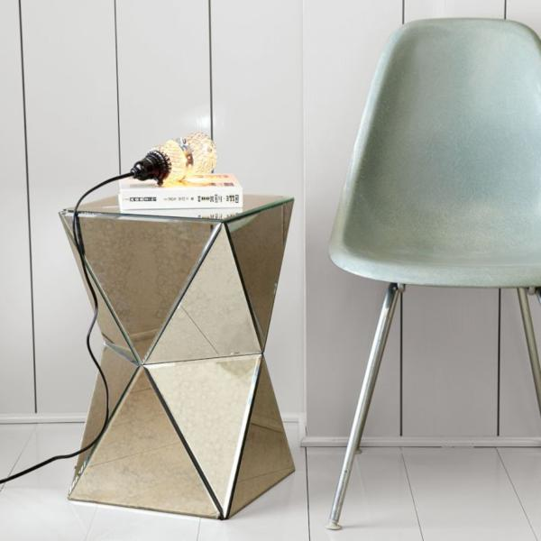 West Elm Faceted Mirror Side Table Adding Shine With Mirrored Furniture