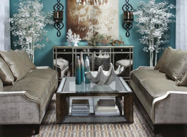 Adding shine with mirrored furniture for Z gallerie living room ideas