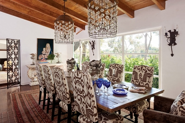 antique dining room with chocolate ikat fabric chairs