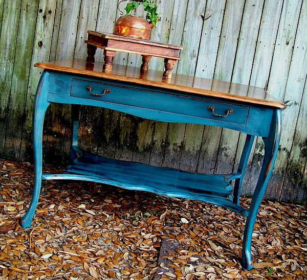antique distressed blue table Antique Distressed Furniture for a Fresh Look