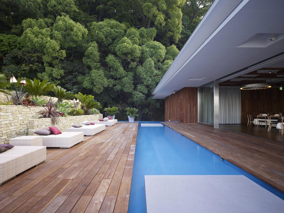 backyard patio with swimming pool design