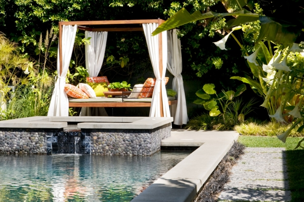backyard tropical oasis with pool decoist