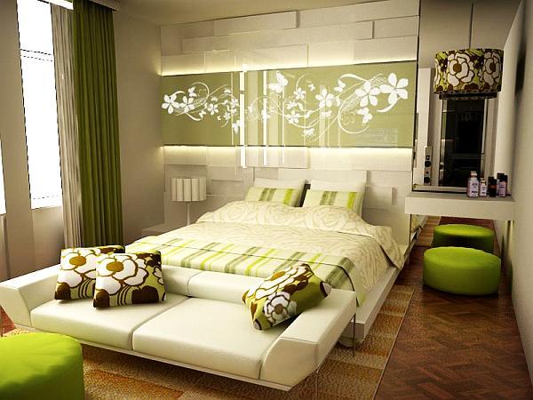 Beautiful green inspired bedroom decoration decoist for Beautiful decoration of bedroom