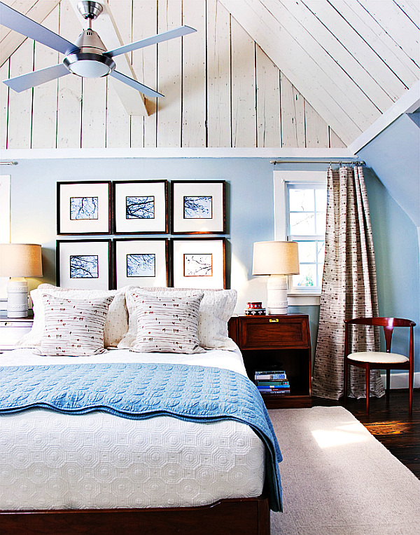 Beautiful modern blue and white bedroom in attic decoist Modern bedroom blue