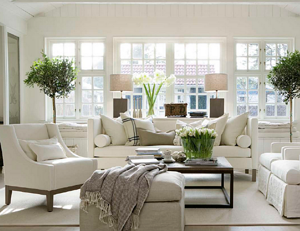 Decorating with bright modern white Living room designs 2012