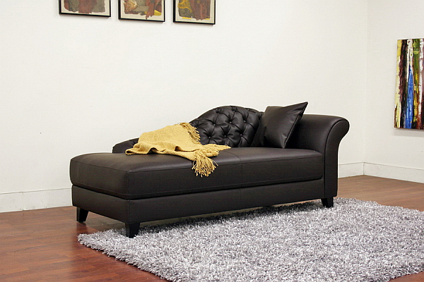 Black leather chaise lounge decoist for Black leather sofa chaise lounge