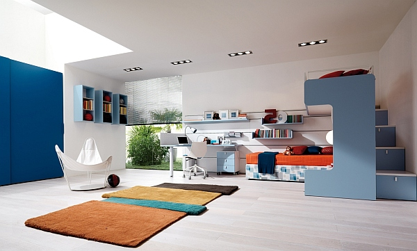 View in gallery blue teen room with modern rug Bright Area Rugs Add a Pop  of Color. Bright Area Rugs Add a Pop of Color