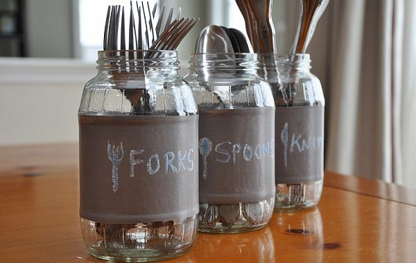 chalkboard diy jars for utensils Seven Repurposing Ideas for Mason Jars