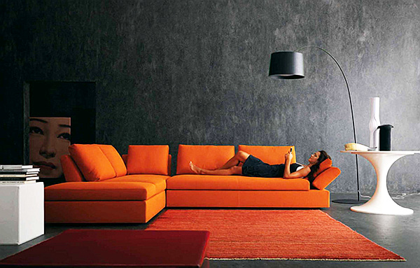 contemporary living room with floor lamp