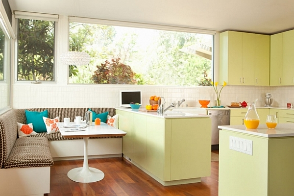 contemporary open kitchen decoration with pistachio green cabinets