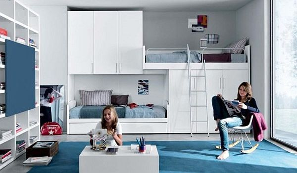contemporary teenage room – blue and white furniture