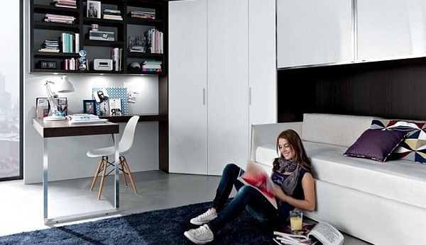 contemporary teenage rooms black and white furniture