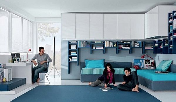 contemporary teens room – aqua white and blue