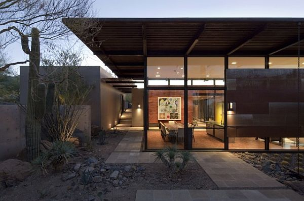 contemporary villa with oversized pivot doors and large expanses of glass- Sonoran Desert 9