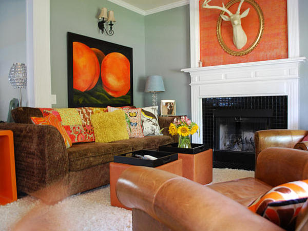 cozy bright living room space with orange accessories