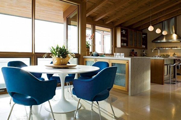 Dining Room With Large Open Work Kitchen