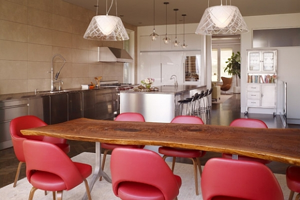 Dining room with unusual shaped table and comfy red chairs for Odd shaped dining room tables